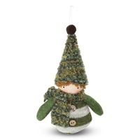 Fabric Elf Boy Hanging Moss  15cm H