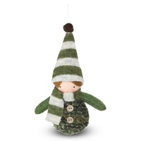 Fabric Elf Girl Hanging Moss  15cm H
