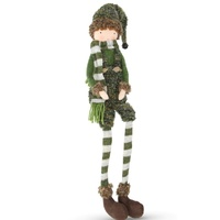 Fabric Elf  Boy  Sitting Moss  49cm H