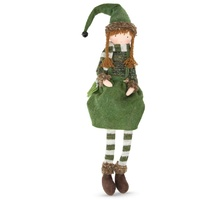Fabric Elf  Girl  Sitting Moss  49cm H