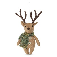 Fabric Woodland Hanging Reindeer with Mottle Scarf Moss 10cm