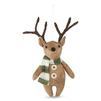 Fabric Woodland Hanging Reindeer with Striped Scarf Moss 10cm