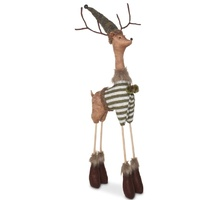 Fabric Woodland Standing Reindeer Medium  Moss 75cm H