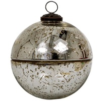 Silver Mercury Bauble Candle Pot 9cm
