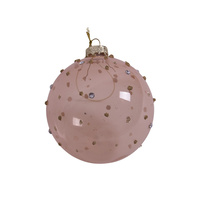 Amber Dot Glass Bauble 8cm