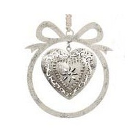 Argent  Bow  Silver Ornament with Heart - 10 cm