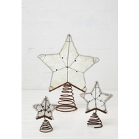 Rusted Metal 5pt Metal Wire Tree Topper