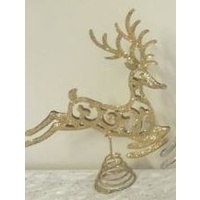 Reindeer Tree Topper Glitter Gold