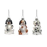 Set Of 3 Glass Dog Decorations