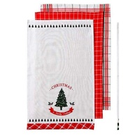 Christmas Tradition Tea Towel 3 pk  Red 45 x 70cm