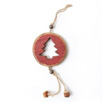 Red Pine Hanging Disc - tree cut out D 8 cm