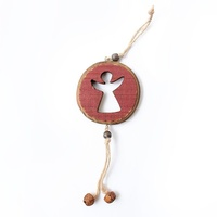 Red Pine Hanging Disc - angel cut out D 8 cm
