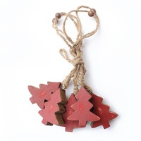 Pine timber garland red tree L115 cm