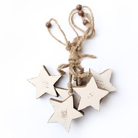 Pine timber garland white stars L115 cm