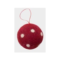 Red Felt Ball with White  Dots 5 cm
