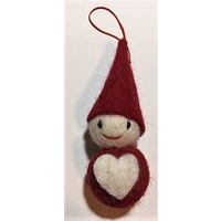 Felt Pixie with heart hanging decoration