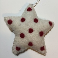 White Felt Star with red dots
