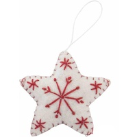 Felt White  Star with Red Snowflake. 9cm