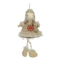 Hessian Girl with Pearl and Dangling Legs 13cm