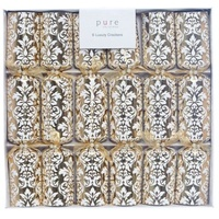 Gold White Floral Cracker 6pk