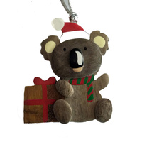 Wooden Koala with Gift Decoration 7cm