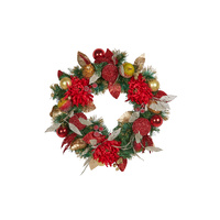 Red and Gold Chrysanthemum and  Apple Wreath 56cm