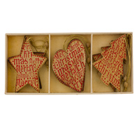 Merry Christmas Natural Star Heart Tree 6pc