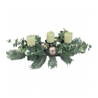 Pastel Ball and Foliage 3 candle  Centre piece