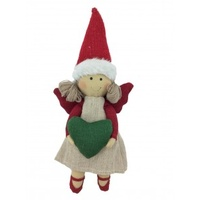Rose Angel Hanging Red Green 23cm