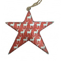 Red Silver Star with Reindeer