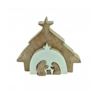 Timber Stable White Nativity