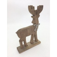 Timber Reindeer with Bow 31x15x5cm