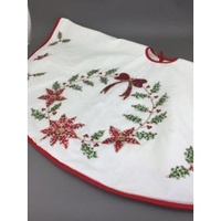 Ivory Tree Skirt with Sequin Red Flowers  150cm