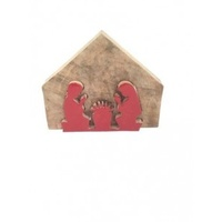 Timber Nativity with Red Joseph and Mary 9x6x2.5cm