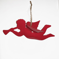 Gloss Red  Cherub Angel with Trumpet 15 CM L