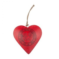 Red Metal Heart With Bird Motif