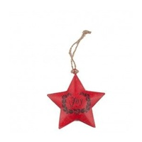 Red Metal Star With Joy Motif