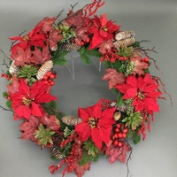 Red Poinsettia  with Maple Leaf and Pine  Wreath 55cm
