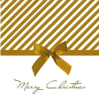 Merry Christmas Gold Bow  Luncheon Disposable Napkins 20pk