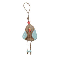Hanging Easter Wooden Chicken - Blue Spotted