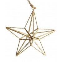 3d Gold Wire Star 14 cm