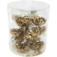 Gold Mini Star Glitter Baubles 12pc 12cm