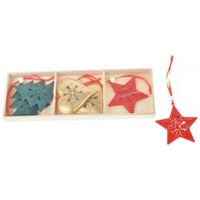 Red Green Gold Metal Star Tree Heart 6pc