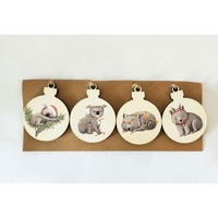 Australian Animal Hanging Discs 4pc 7cm