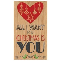 Wooden Christmas Postcard All I Want for Christmas 8.5 x 15cm