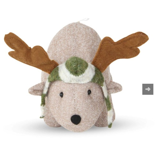 Fabric Fauna Standing Wombat with  Antlers Moss