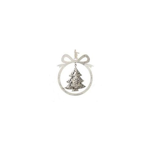 Argent Bow Ornament with Tree 10.5x10 cm