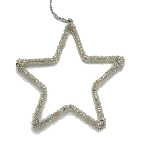 Silver Beaded Star Ornament 10 cm