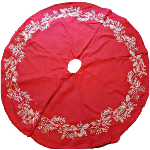 Red Fabric Sequinned Tree Skirt 135cm