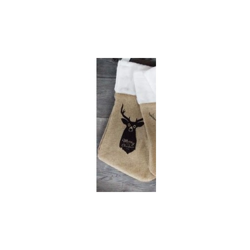 Printed Hessian Stocking with Deer